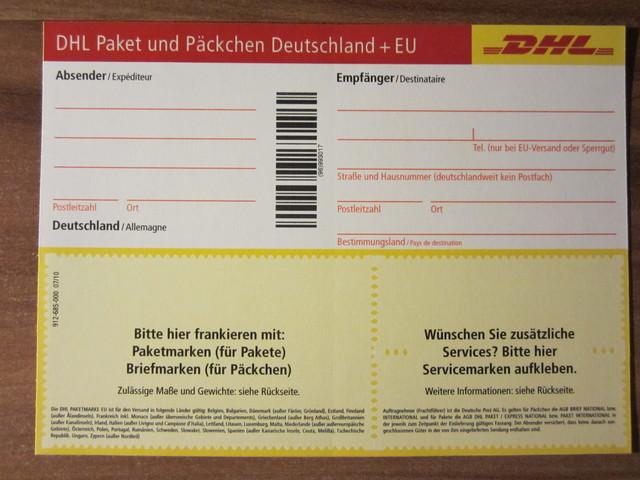 dhl paketschein paketmarke post paket. Black Bedroom Furniture Sets. Home Design Ideas