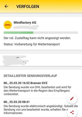 - (Post, Paket, DHL)