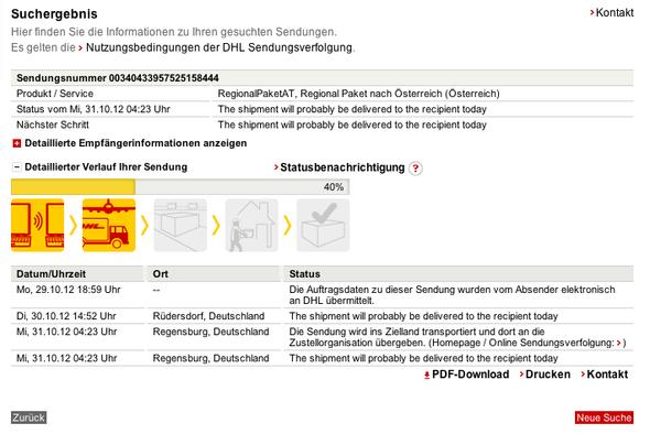 DHL Sendungsverfolgung - (Paket, DHL, Sendung)