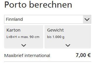 Das sagt mir der Schnellrechner (deutschepost.de): Maxibrief bis 1kg: 7,00€ - (Preis, Post, DHL)