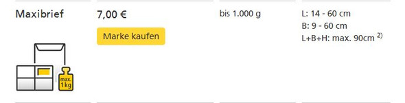Das sagt mir die Übersicht von deutschepost.de: Maxibrief bis 1kg: 7,00€ - (Preis, Post, DHL)