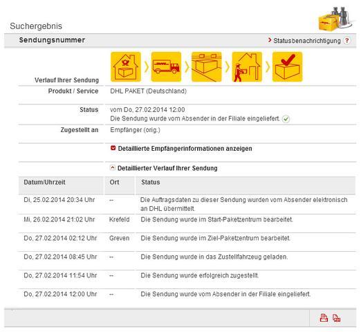 DHL Sendungsverfolgung BEIPSIEL - (DHL, Sendung, Zustellung)