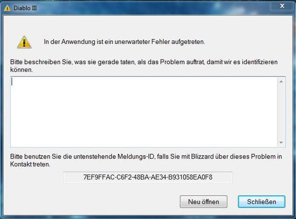 Die Fehlermeldung - (Fehlermeldung, Diablo III)