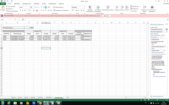 Tabelle - (PC, Excel)