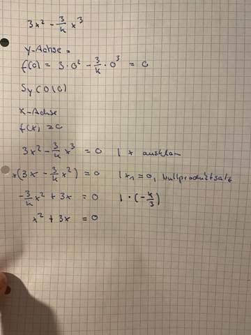 DIe Achsenabschnitte Funktionsschar 3x²-3/k(x)³?