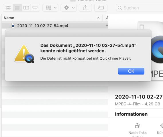 Die Datei ist nicht kompatibel mit Quicktime Player?