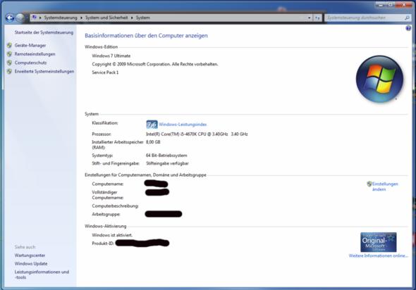 """Hier das """"System"""" Fenster - (Windows 7, Windows 10, Upgrade)"""