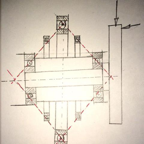 4 Linien gehen durch die Kugeln. - (Konstruktion, Mechatronik, Wälzlager)