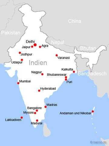 Die Wichtigsten Stadte Der Karte Indiens Karten Stadt Indien