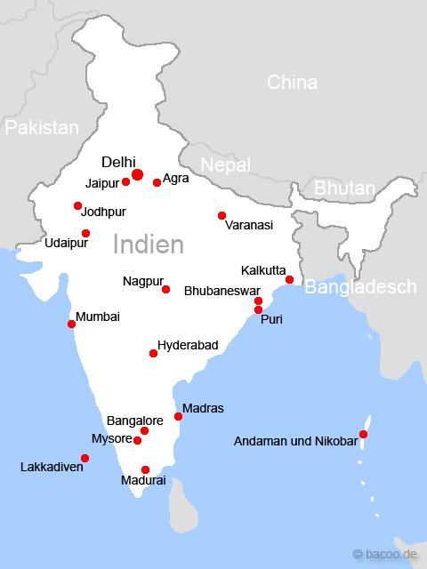 die wichtigsten st dte der karte indiens karten stadt indien. Black Bedroom Furniture Sets. Home Design Ideas