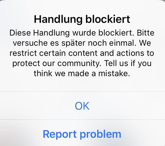 Handlung blockiert instagram aufheben