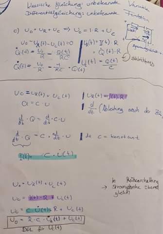 Differentialgleichungen für Q,U und I beim Laden eines Kondensators?