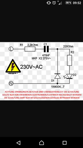 Schaltung für eine Diode am Netz  - (Physik, Elektronik, Elektrotechnik)