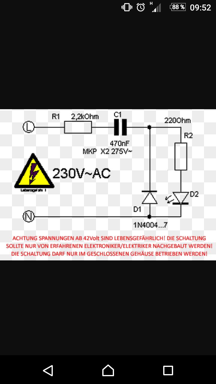 Diode an 230V Netzspannung mithilfe dieser Schaltung? (Physik ...