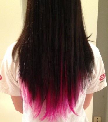 Dip dye in pink bei braunen Haaren Haare Tönung directions