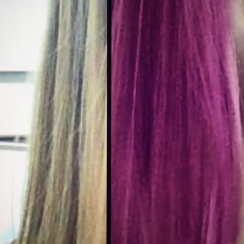 links meine jetzige, rechts die gewünschte haarfarbe :) - (Haare, Haarfarbe, tönen)