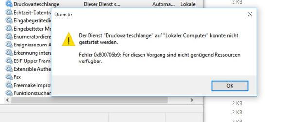 Fehlermeldung - (Windows 10, Drucker, Spool)