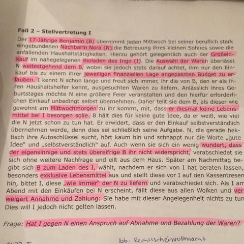 Fall Stellvertretung - (Studium, Jura, Uni)