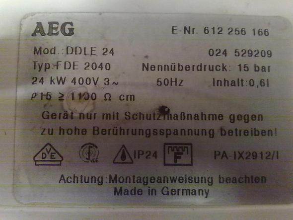 Typenschild - (Warmwasser, durchlauferhitzer, AEG DDLE 24)