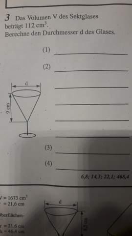 Durchmesser mithilfe des Volumens berechnen, Formel?