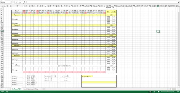 Dienstplan - (Excel, Formel)