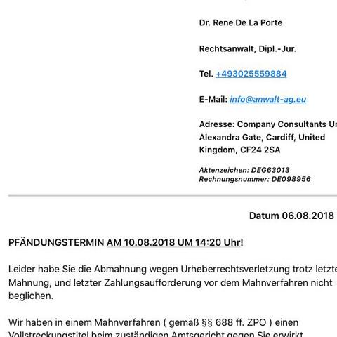 E Mail Vom Anwalt Kinosto Abmahnung Kinox