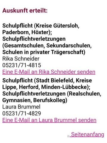 E-Mail wegen Schulpflichtverletzung?