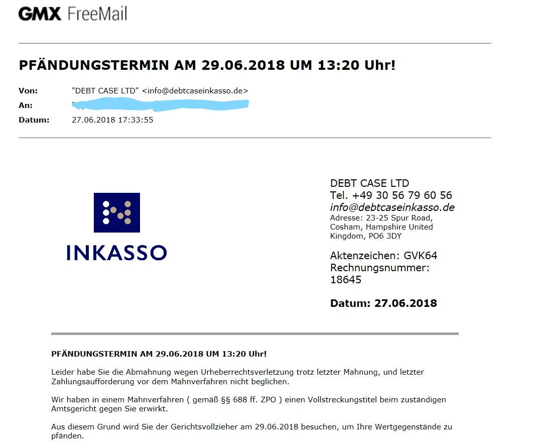 E Mail Wegen Urheberrechtsverletzung Internet Rechte Urheberrecht