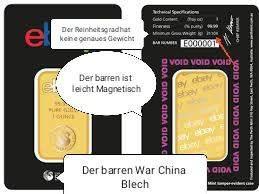 Ebay Goldbarren Fake Fälschung reingefallen wie man es in Zukunft vermeiden tut. Gib es tricks?