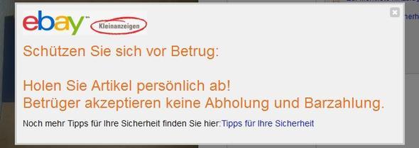 Sicherheitshinweis - (Ebay, ebay Kleinanzeigen)
