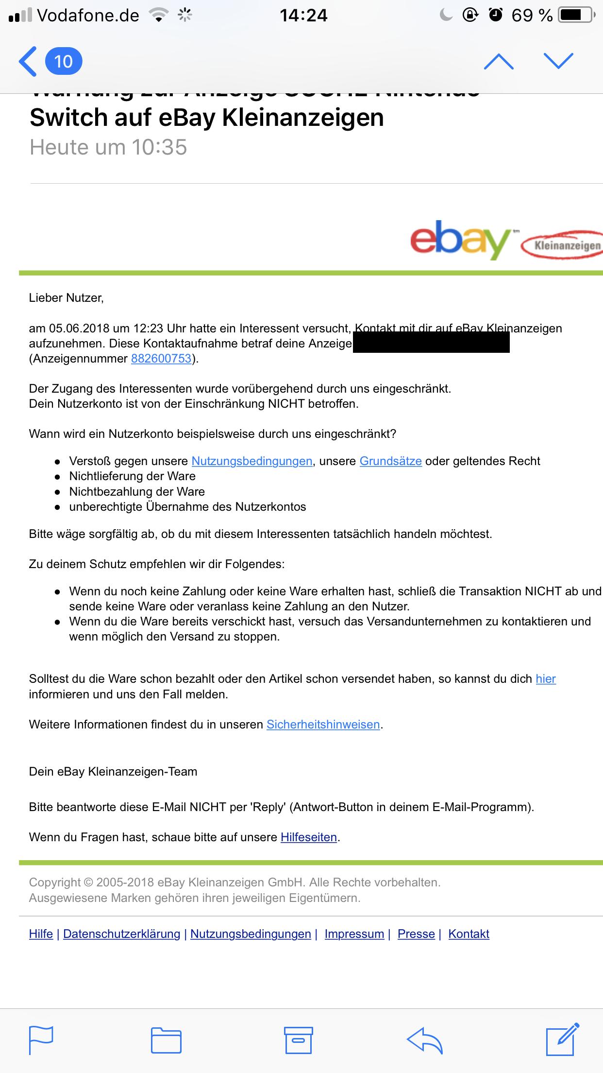 Ebay Kleinanzeigen Warnung E Mail