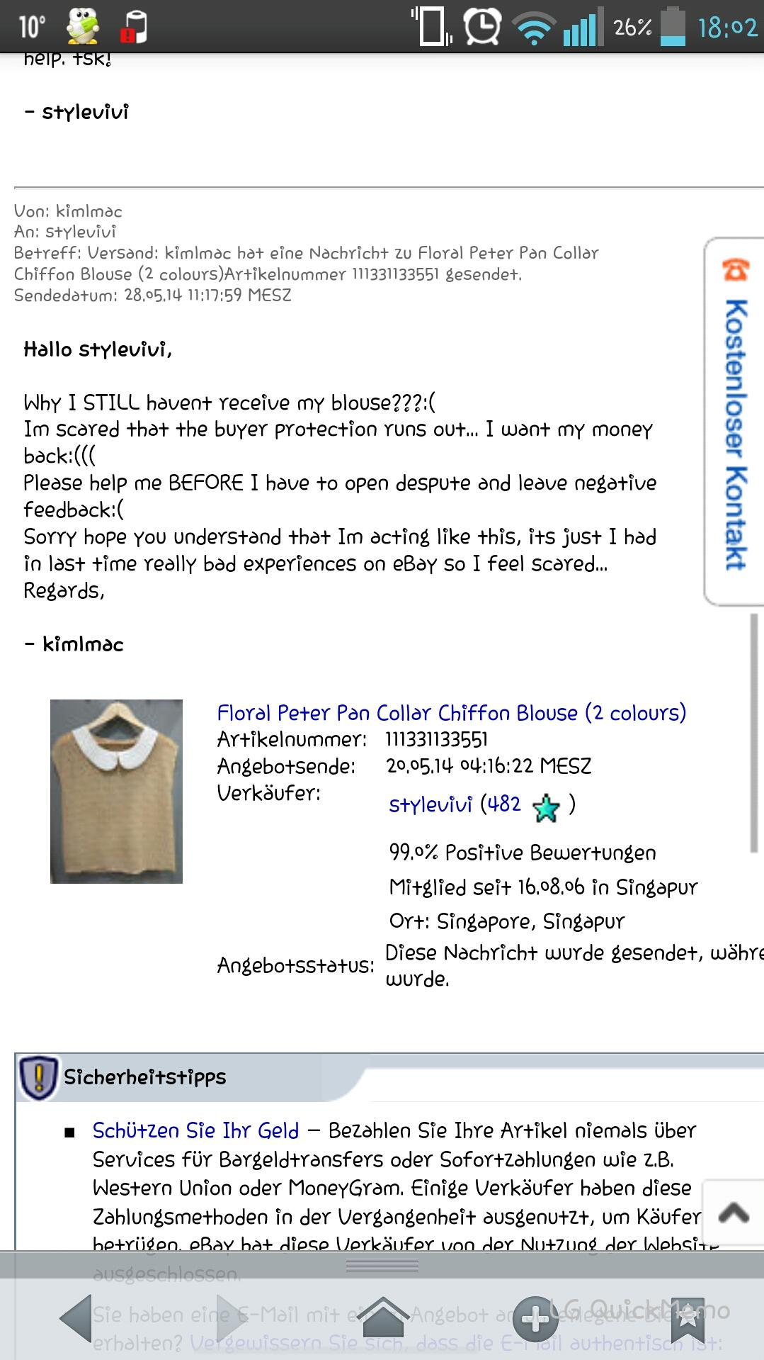 Ebay Fall Melden
