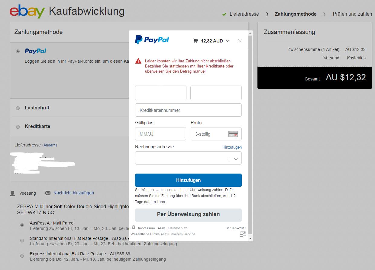 Spoof@Paypal Funktioniert Nicht