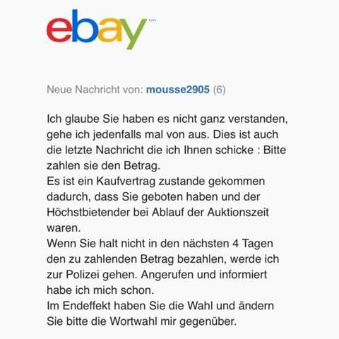 EBay Verkäufer will mich Anzeigen was tun?