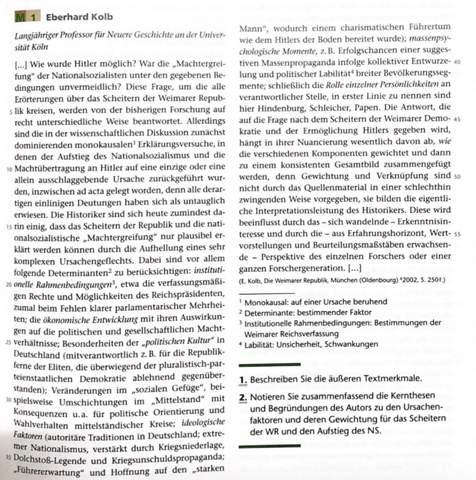 Eberhard Kolb historische Perspektive/ Meinung bezüglich des Scheitern der Weimarer Republik?