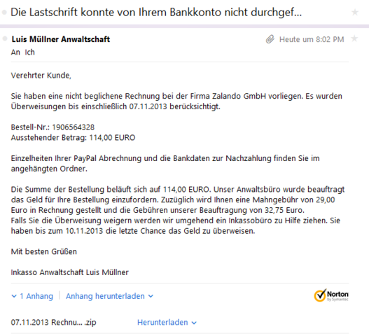 eigenartige mail von zalando rechnung email spam. Black Bedroom Furniture Sets. Home Design Ideas