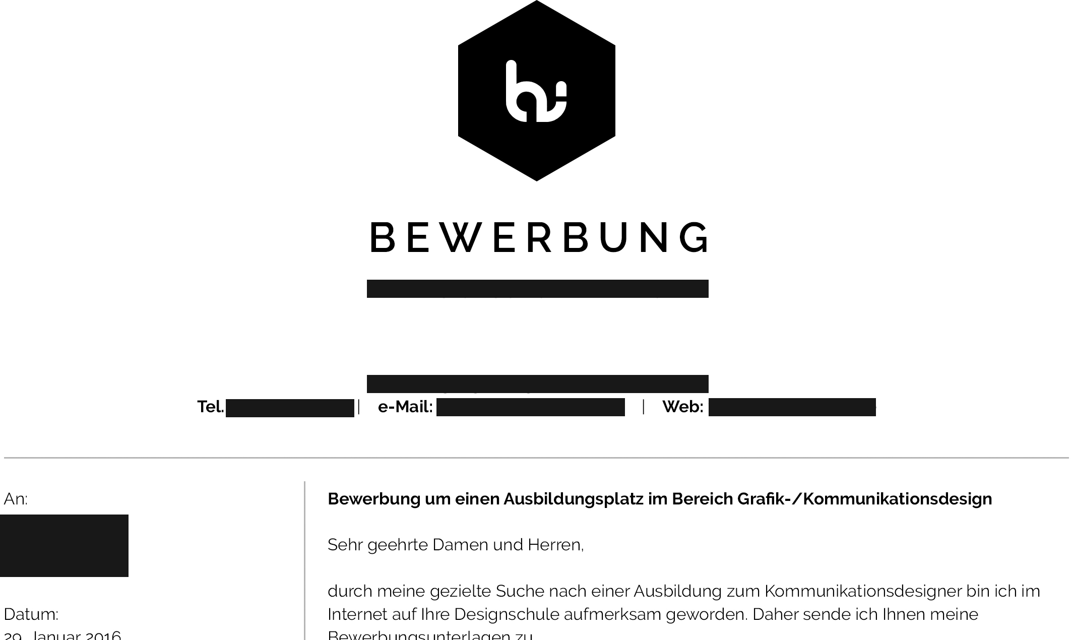 eigenes logo in der bewerbung benutzen ausbildung design schler - Bewerbung Grafikdesign