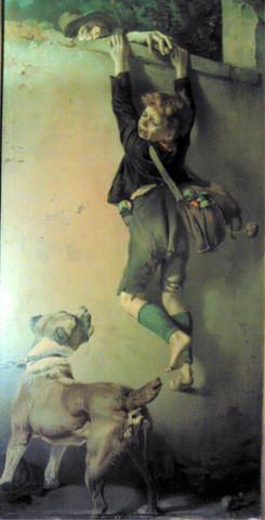 Junge an der Mauer - (Kunst, Künstler, Gemälde)