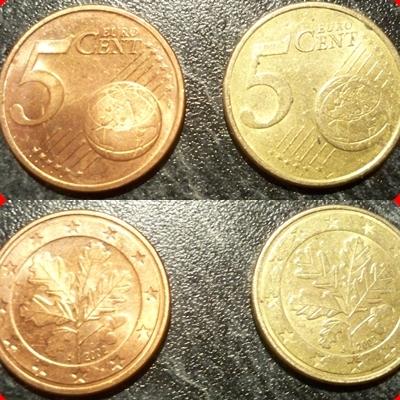Ein Goldenes 5 Centstück Geld Gold