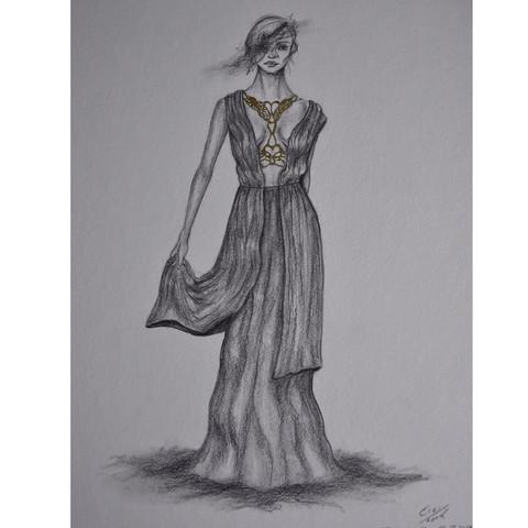 Bleistiftzeichnung mit Tusche - (Mode, Kunst, Fashion)