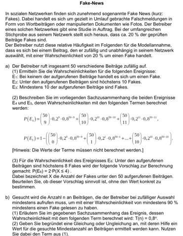 Eine Stochastik Aufgabe, bei der ich eine Teilaufgabe nicht verstehe?