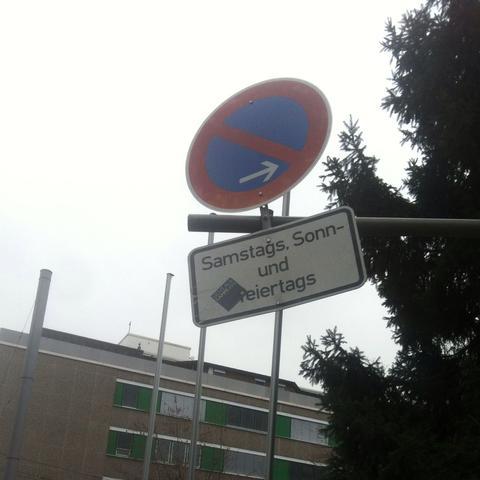Verbotsschild - (Verkehr, Strassenverkehr, Halteverbot)