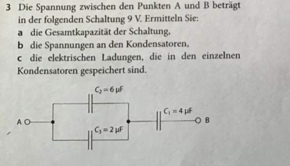 Elektrische Ladung in den einzelnen Kondensatoren?