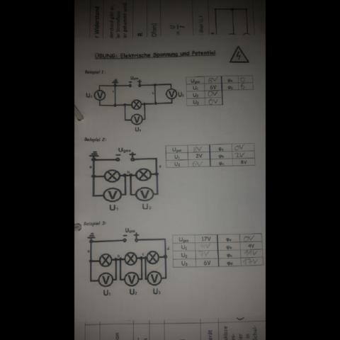 Übungsblatt - (Physik, Spannung und Potential)