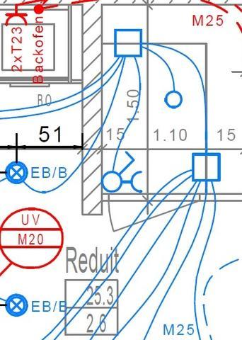 Bild 2 Elektroplan mit Verbindungslinien - (Elektrik, cad, Pläne)