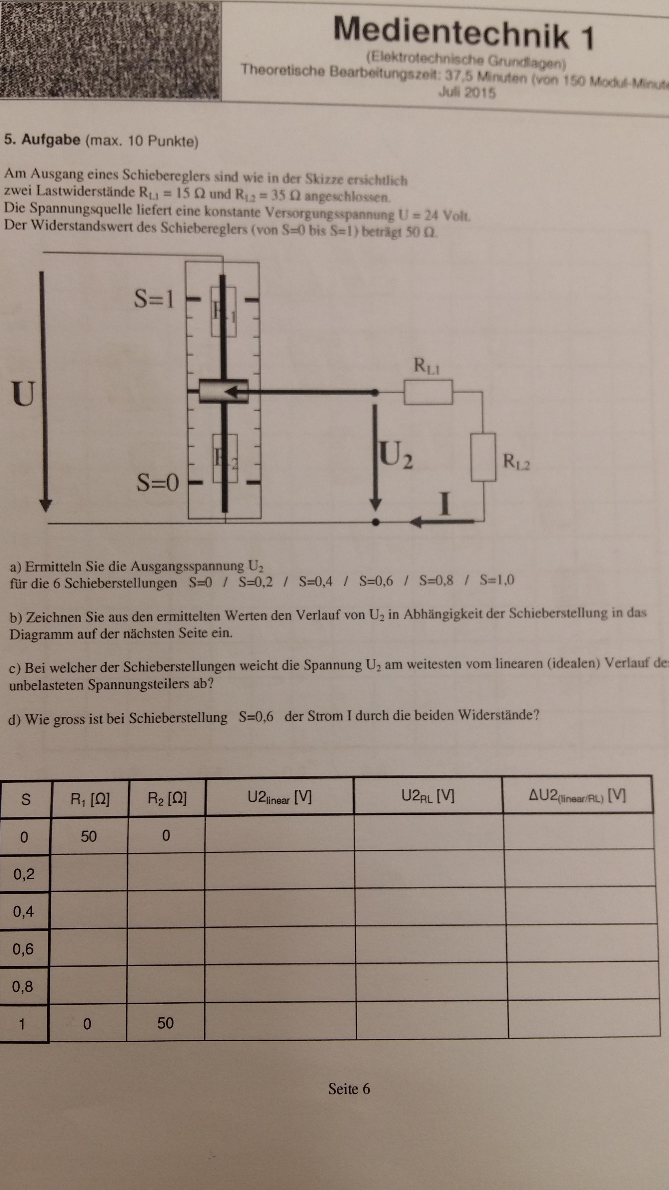 Elektrotechnik, Schieberegler? (Strom, Widerstand, Ohm)