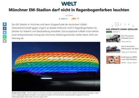 EM STADION MÜNCHEN MIT ODER OHNE DEN REGENBOGENFARBE (LGBTQ RIGHTS MATTERS FARBE)?