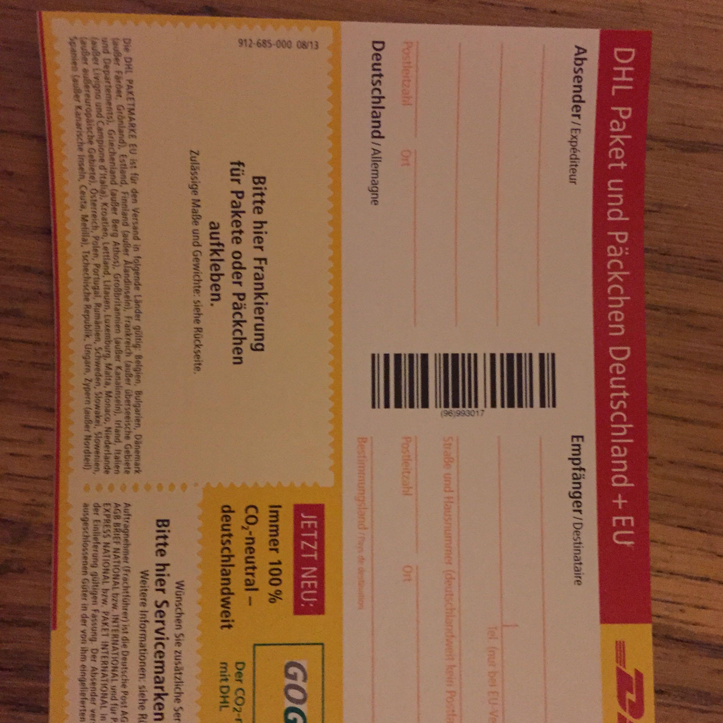 empfängerkarte für pakete auch bei warensendungen? (post, paket, regeln)