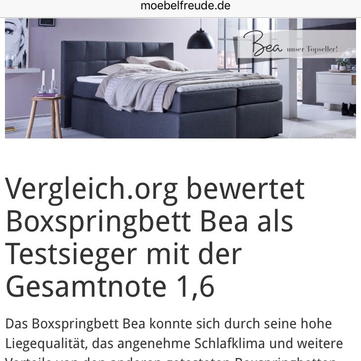 erfahrungen mit boxspringbett bea von m und. Black Bedroom Furniture Sets. Home Design Ideas