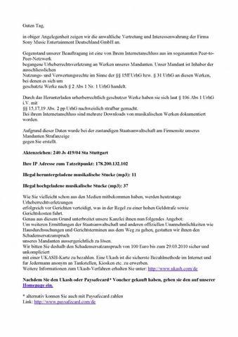 Ermittlungsschreiben Teil1 - (Musik, Download, Betrug)